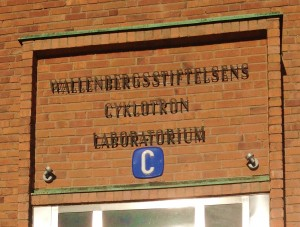 The sign over the entry to the Nobel Institute cyclotron building in Stockholm, now part of Stockholm University. Photo courtesy of Brett Thornton.
