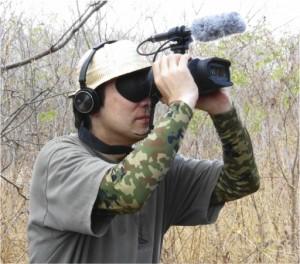 Atsushi Iriki, a RIKEN neuroscientist in Brazil observing marmosets in the wild.