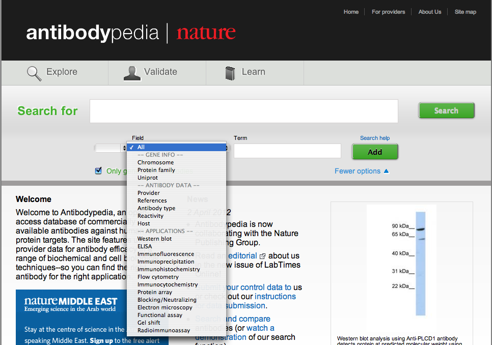 Advanced Search on Antibodypedia