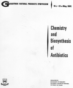 Cover of the program of the 1967 Gregynog Natural Products Symposium.Courtesy of Dr. James Redman.