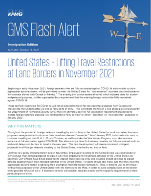 KPMG Global Mobility Services Flash Alert - 2021 - US Lifting Travel Restrictions at Land Borders in November 2021
