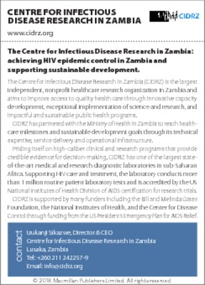 The Centre for Infectious Disease Research in Zambia: