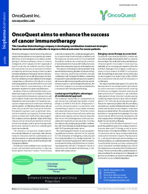 OncoQuest aims to enhance the success of cancer immunotherapy