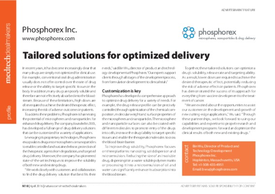 Tailored solutions for optimized delivery