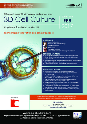 February 2017 3D Cell Culture conference: bioprinting workshop