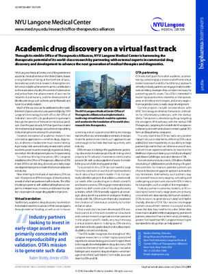 Academic drug discovery on a virtual fast track
