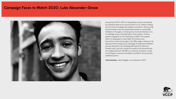 Campaign Faces to watch Luke Alexander-Grose