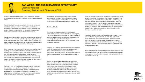 Charles Vallance - Ear We Go: The Audio Branding Opportunity