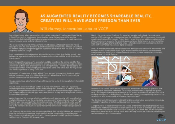 Will Harvey - As augmented reality becomes shareable reality, creatives will have more freedom than ever