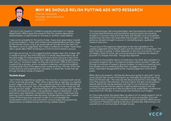 Charles Vallance - Why we should relish putting ads into research