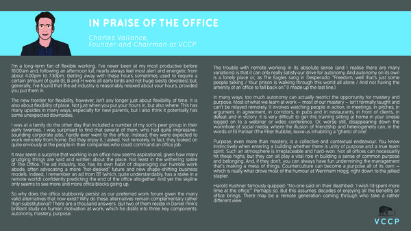 Charles Vallance - In praise of the office