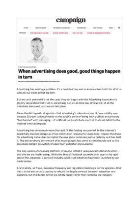 When Advertising Does Good, Good Things Happen in Turn by Laurence Green