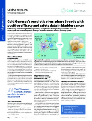 Cold Genesys's oncolytic virus: phase 3 ready with positive efficacy and safety data in bladder cancer