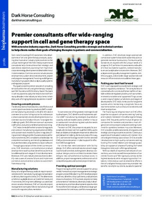 Premier consultants offer wide-ranging support in cell and gene therapy space