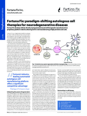 Fortuna Fix: paradigm-shifting autologous cell therapies for neurodegenerative diseases