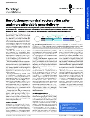 Revolutionary nonviral vectors offer safer and more affordable gene delivery