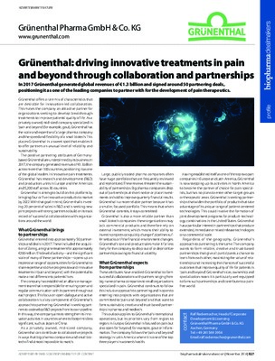 Grünenthal: driving innovative treatments in pain and beyond through collaboration and partnerships