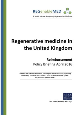 REGenableMED April 2016 Reimbursement Policy Briefing