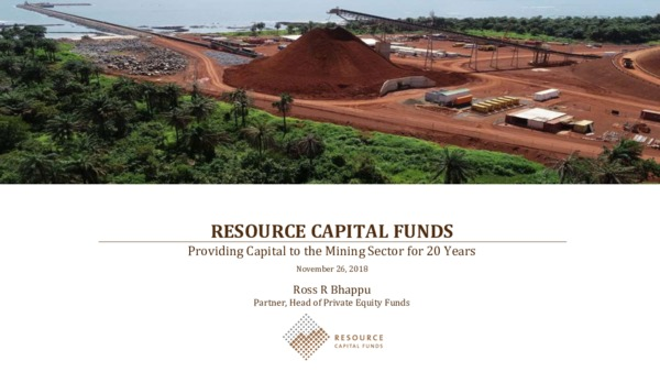Resource Capital Funds - Providing Capital to the Mining Sector for 20 Years