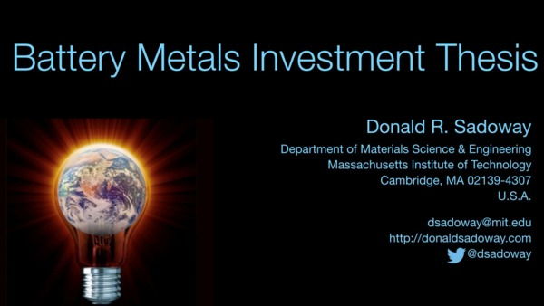 Battery Metals Investment Thesis