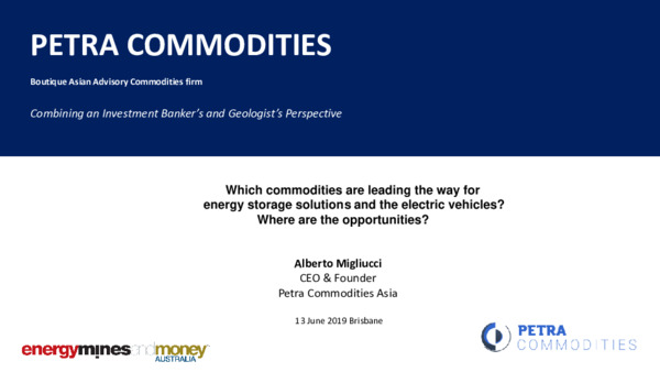Which commodities are leading the way for energy storage solutions and the electric vehicles? Where are the opportunities?