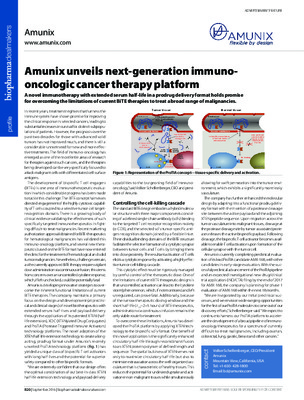 Amunix unveils next-generation immunooncologic cancer therapy platform