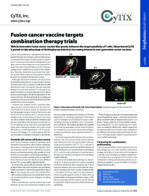 Fusion cancer vaccine targets combination therapy trials
