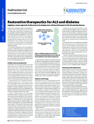 Restorative therapeutics for ALS and diabetes