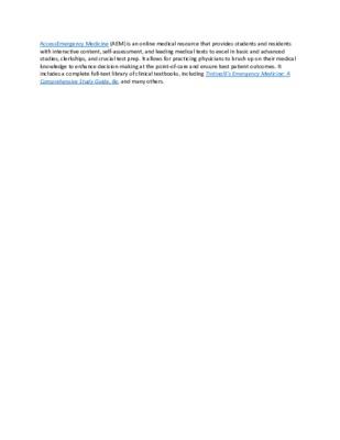 LibGuide  Database Description - AccessEmergency Medicine