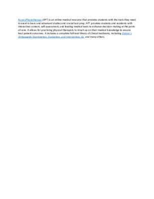 LibGuide  Database Description - AccessPhysiotherapy