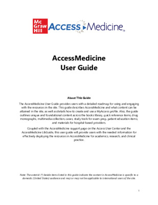 AccessMedicine User Guide