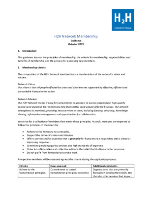 H2H Membership Guidance for applicants