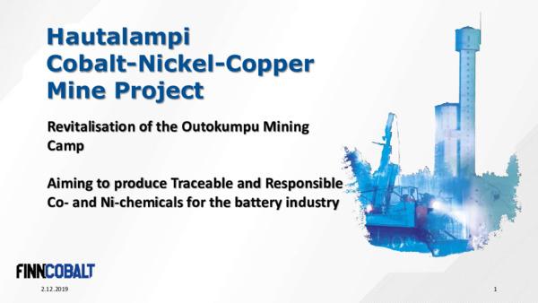 Mining Spotlight: FinnCobalt  - an advanced cobalt mine development project