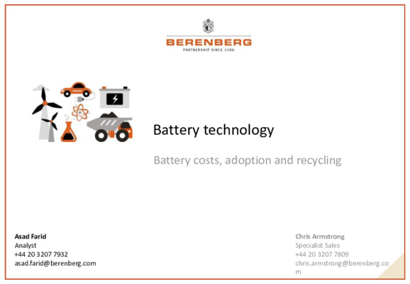 Address: Batteries (technology, cost, adoption and recycling) and what it will mean for metal market