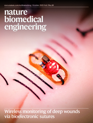 Wireless monitoring of deep wounds via bioelectronic sutures