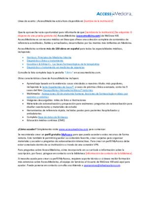 AccessMedicina Librarian Email Template - Spanish