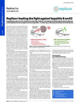 Replicor: leading the fight against hepatitis B and D