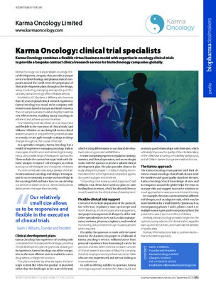 Karma Oncology: clinical trial specialists