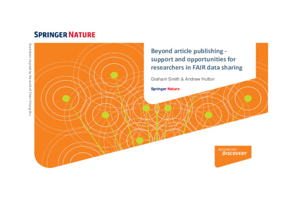 Presentation: Beyond article publishing - support and opportunities for researchers in FAIR data sharing