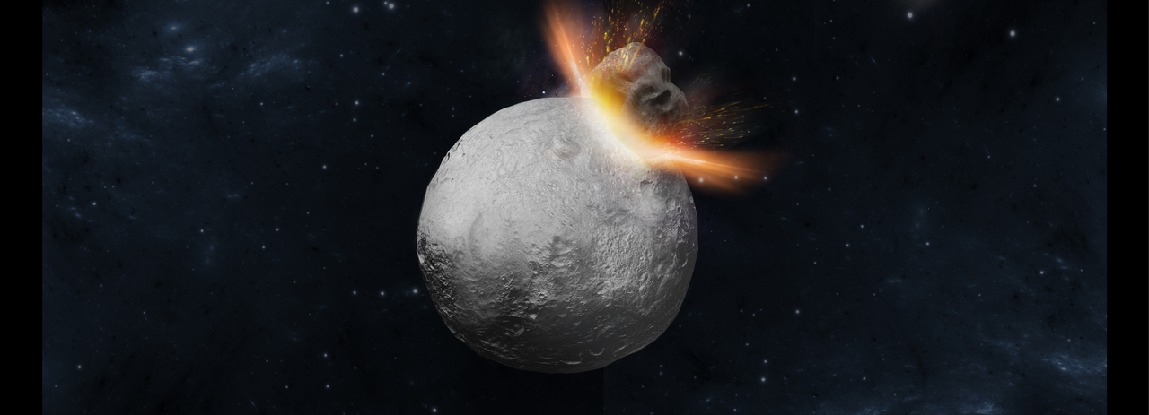 A hit-and-run collision on Vesta in the early Solar System
