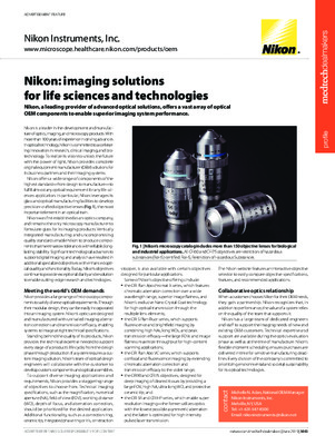 Nikon: imaging solutions for life sciences and technologies