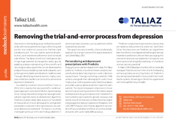 Removing the trial-and-error process from depression