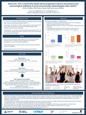 Emily Dingley & Ellie Dean - Dance On: Can a community based dance programme improve the physical and psychological wellbeing of socio-economically disadvantaged older adults?