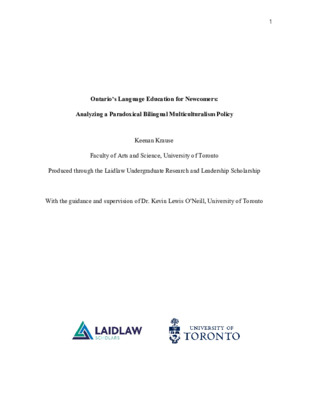 Ontario's Language Education for Newcomers: Analyzing a Paradoxical Bilingual Multiculturalism Policy