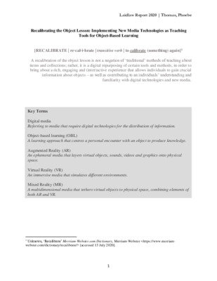 Recalibrating the Object Lesson: Implementing New Media Technologies as Teaching Tools for Object-Based Learning