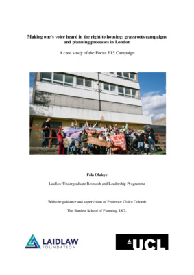 Making one's voice heard in the right to housing: grassroots campaigns and planning processes in London