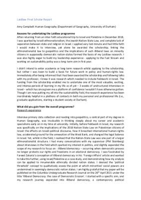 Laidlaw reflections: final scholar report