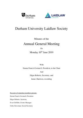 Durham University Laidlaw Society: AGM Minutes 19.06.10