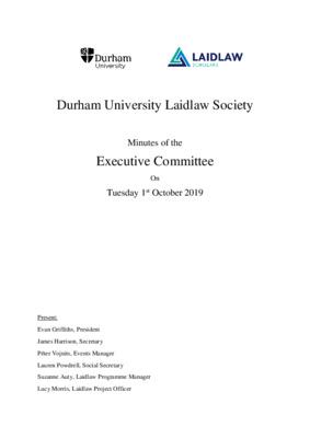 Durham University Laidlaw Society: Exec Minutes 19.10.01