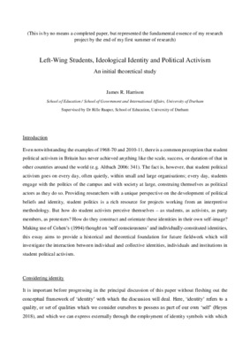 Left-Wing Students, Ideological Identity, and Political Activism - An Initial Theoretical Study